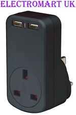 UNIVERSAL USB PLUG IN THRU DOUBLE TWIN DUAL MAINS CHARGER 1000MA 1A 1 AMP