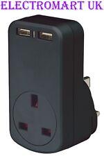 Universal USB Plug in a través de doble Twin Doble Cargador de red 1000MA 1A 1 Amp