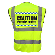 SILLITOE CAUTION PARTIALLY SIGHTED YELLOW HI VIZ VIS WAISTCOAT VEST SAFETY