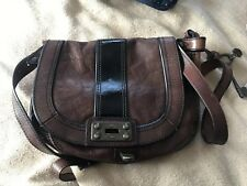 Fossil Brown and Black Leather Satchel - Used