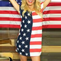 Women O-Neck American Flag Print Casual Personality Sexy Short Sleeve Mini Dress