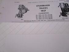 ORIGINAL 1937 Studebaker Trucks Carter Carbureter Spec / Info Sheet