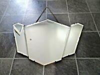 Antique Art Deco 1920s-1930s Beveled Edged Geometric Design 3 Panel Wall Mirror