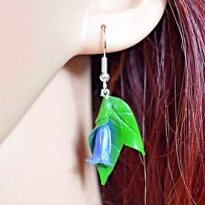 Bluebell Hook Earrings, Handmade Polymer Clay. Spring, Summer, Flowers, Nature