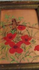 PAINTING ENAMEL ON COPPER  FRAMED BILLYE RED POPPY FLOWERS ON FENCE