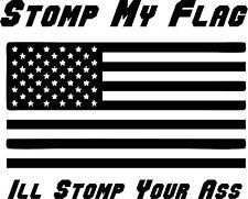 "5"" AMERICAN FLAG STOMP VINYL DECAL STICKER FUNNY JDM RACING MILITARY PHRASE USA"