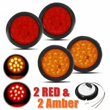 2 Red + 2 Amber 4'' 12 LED Round Truck Trailer Stop Signal Turn Tail Light 24V