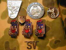 Old Obsolete East German DDR 8 piece badge group FDJ youth pins and military