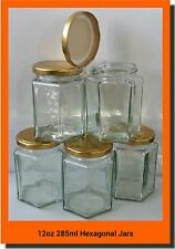 72 x 280 ML 12 OZ (ca. 340.19 g) Hex preservare esagonale barattolo di vetro marmellata Miele Chutney Oro Coperchi