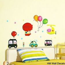 BALLOONS CARS & HELICOPTER Kids Removable Wall Sticker for Kids room or Nursery