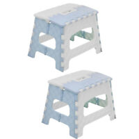2xFolding Step Stool for Kids Kitchen Stepping Stool Portable Stool Sky blue