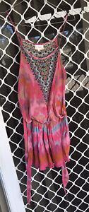 Camilla Pink Freida Shoestring Waist Tie Playsuit $4 EXPRESS Size 1 Franks Silk