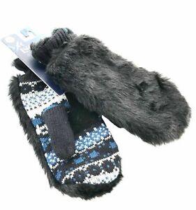 Isotoner Signature Womens 636797 Mittens Faux Fur Fair Isle Black Blue Knit OS