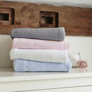 Clair de Lune Super Soft 100% Cotton Baby Cellular Blanket For Pram, Moses, Crib