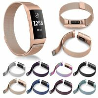 New Milanese Stainless Steel Magnetic Watch Wrist Band Strap for Fitbit Charge 3