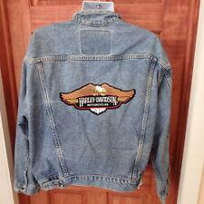 Levis Denim Jean Jacket Harley Davidson Eagle Patch Mens XL Vintage