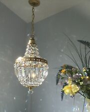 ✨Pretty ✨Glass crystal mdm size French Empire style Vintage chandelier light .
