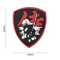 3D PVC morale patch Samurai Warrior shield airsoft softair BLACK RED