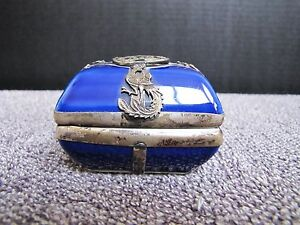 Antique Chinese Guangxu 光緒 Porcelain Sterling Silver Dragon Overlay Trinket Box