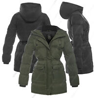 NEW Womens PARKA COAT Ladies JACKET Padded Quilted Black Size 8 10 12 14 16