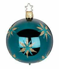 "Inge Glas ""Magic Stars"" (blue-gr.) 6cm Ball Glass Ornament -Made Germany (#388)"