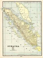 1900 Antique SUMATRA Map Vintage Original Map of Sumatra Indonesia Map 5864