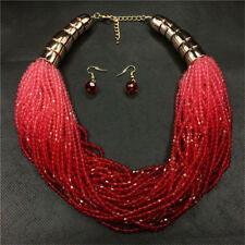 Boho Beads Necklace and Earrings Jewelry Set for Women Multi-layer Necklaces Red