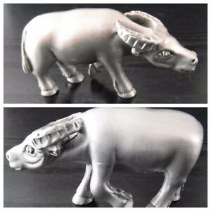 Pewter Figurine Ox Bull Animal Decor Display Lucky Charm Small Cow Collectable