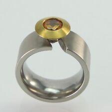 Massiver Damen Edelstahl Ring Spannring Citrin  Solitär 55 (17,5 mm Ø)