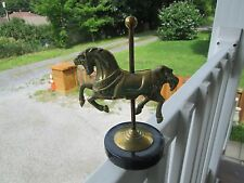 "Unique+Vintage Decorative Solid Brass 7.5"" Carrousel Horse On Marble Base"