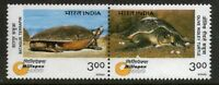 INDIA 2000 Endangered Species Turtles Animals Amphibians stamp 2v se-tenant