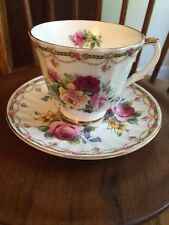Vtg Allyn Nelson Collection Tea Cup & Saucer Set Yellow Pink Red Roses Mug Dish