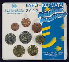 Greece Official BU set 2002 Greek Euro coins Bank of Greece 8 val. 1c to 2 euros