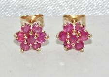 0.50 Ct Round Cut Pink Ruby Cluster Flower Stud Earrings 14K Yellow Gold Finish