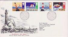 GB francobolli primo giorno di copertura la sicurezza in mare, RNLI, Faro etc SHS Mappa Radar 1985