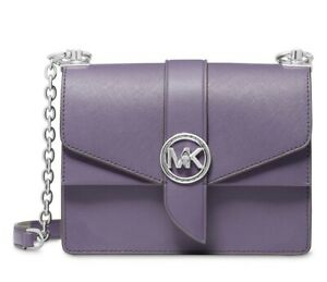 Michael Kors Greenwich Small Leather Convertible Crossbody Orchid Haze Silver
