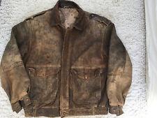 Vintage Mens Leather Bomber Jacket Size Large