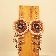 """2 1/2"""" Brown Multi Color Handmade Dream Catcher Style Dangle Seed Bead Earring"""