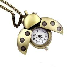 Men Vintage Retro Bronze Pocket Watch Beatle Alloy Quartz Necklace Watch
