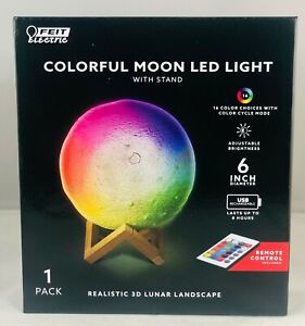 """NEW - Feit Electric 16 different Colorful Moon LED Light 3D Nightlight 6"""" Remote"""