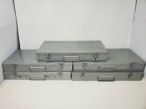 Vintage Brumberger 35mm Slide Metal Storage Cases, 5 Boxes Hold 150 Slides Each