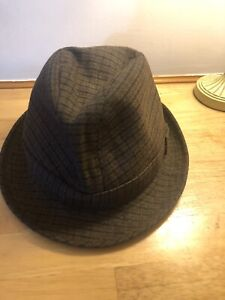 Mens Vintage Hat Trilby Pork Pie Chapeau Brown Check Country Style