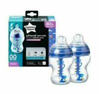 Tommee Tippee Decorated Advanced Anti-Colic Baby Bottles, 260 ml Blue