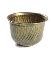 Vintage 60s Mid Century Modern MCM Solid Brass Decorative Table Bowl Vase Wavy
