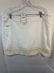 IZOD XFG NWT Women Swingflex Waist White/yellow Size 16 Golf Skort