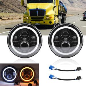 DOT Pair 7 Round LED Headlight Hi/Lo Beam Halo For Kenworth T2000 T400 T800 W900