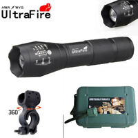 Ultrafire Flashlight 50000LM LED T6 Light Zoomable Tactical 18650 + Holder Case