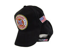 U.S. Coast Guard USCG Black Yellow Rim Anchor Crest Embroidered Cap Hat