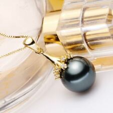 Tahitian Black Shell Pearl(12mm) with pagoda pendant white/yellow gold Necklace