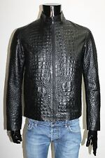 ITALIAN HANDMADE MEN LEATHER SLIM FIT BLOUSON JACKET CROCODILE BLACK M